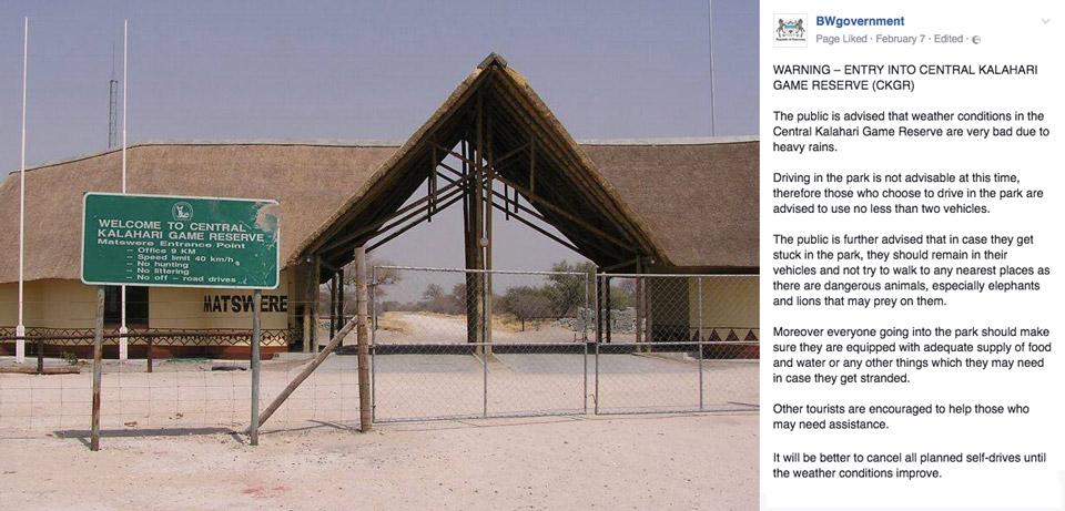 Saison des pluies 2017 : Pistes impraticables au Central Kalahari