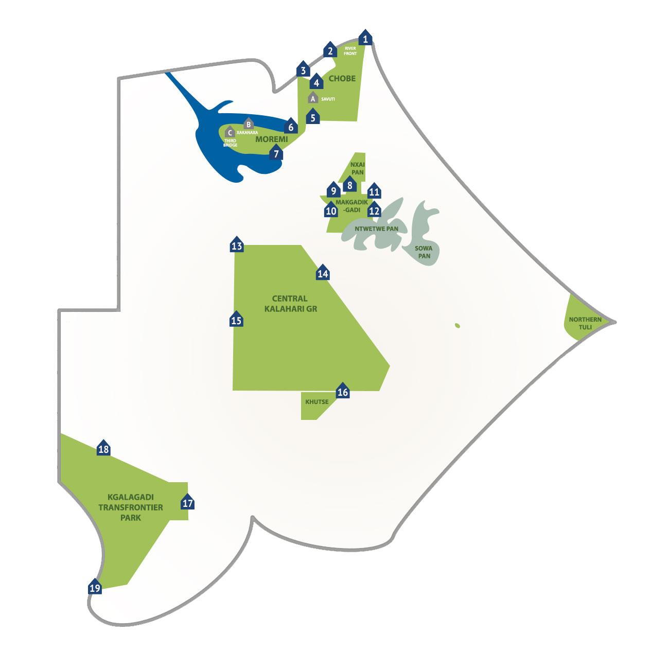 Parcs nationaux et campings au Botswana : accès aux parcs